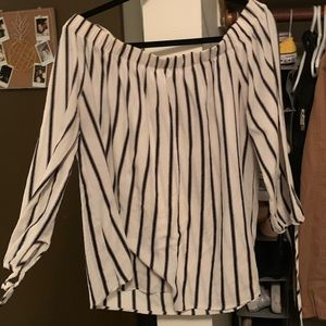 Black and White Off The Shoulder Blouse